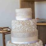 Ivory ruffle wedding cake