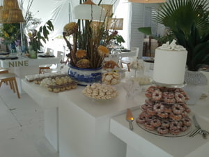 Tropical beach inspired dessert table and wedding cake