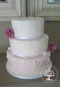Gelukkie, Paternoster wedding, pink and white applique cake