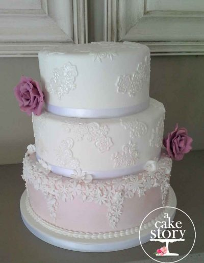 Gelukkie, Paternoster wedding, pink and white applique cake