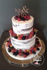 Gelukkie, Paternoster wedding, semi naked cake with fresh fruit