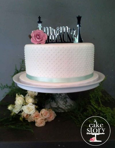 Gelukkie, Paternoster wedding, mint green Swiss dot cake