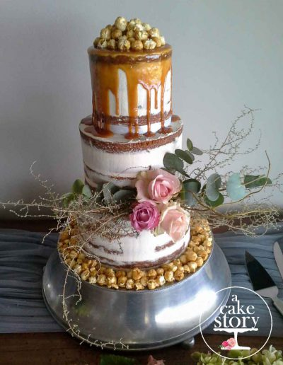 Blue Bay Lodge, Saldanha Bay wedding, salted caramel vanilla cake with popcorn