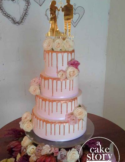 Sea Trader, St. Helena Bay wedding, blush pink and gold fondant cake