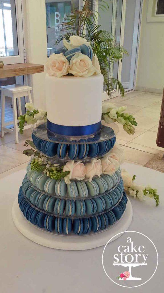 West Coast Beach Wedding, Blue Bay Lodge, Saldanha Bay wedding, gluten free cake with macarons