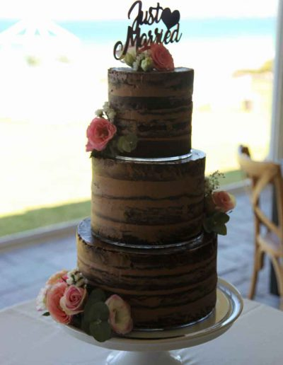 Blue Bay Lodge, Saldanha Bay wedding, chocolate semi naked cake