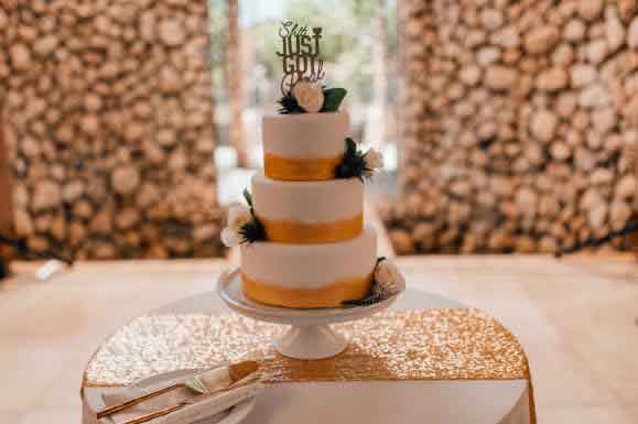 A gold wedding cake