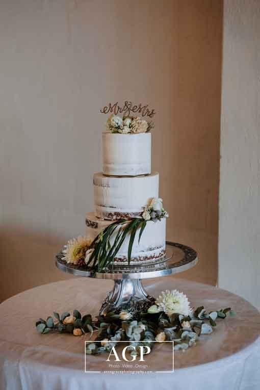West Coast Beach Wedding, Sea Trader semi naked wedding cake, coconut sponge with passionfruit curd