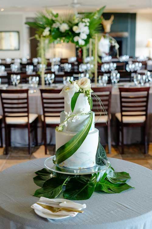 Tropical beach inspired wedding cake